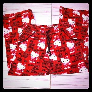 Hello Kitty red pajama pants size 7/9 M
